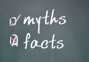 Myths or facts written on chalkboard
